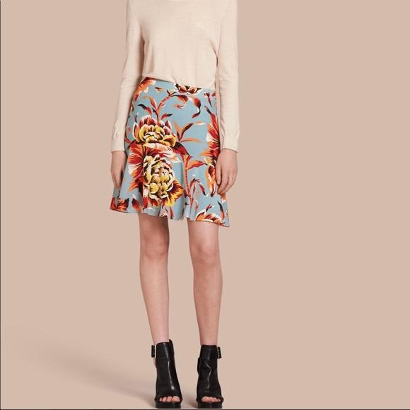 Burberry Dresses & Skirts - Burberry Women's Floral Flared-hem Silk Skirt